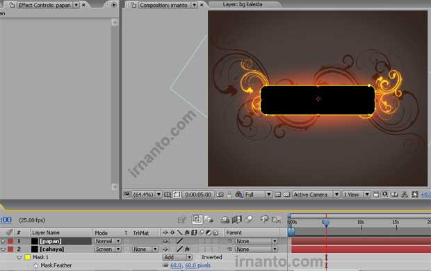 hasil perubahan posisi layer papan after effects
