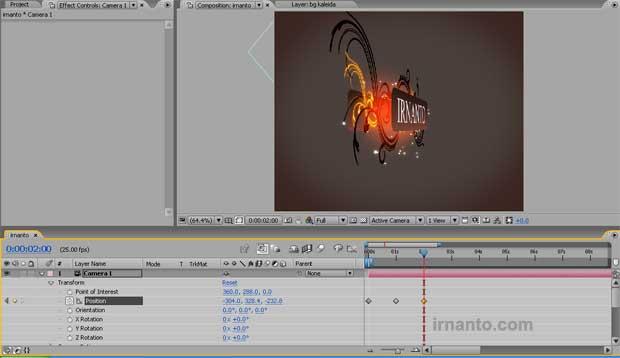 pembuatan animasi menggunakan orbit camera tool di after effects