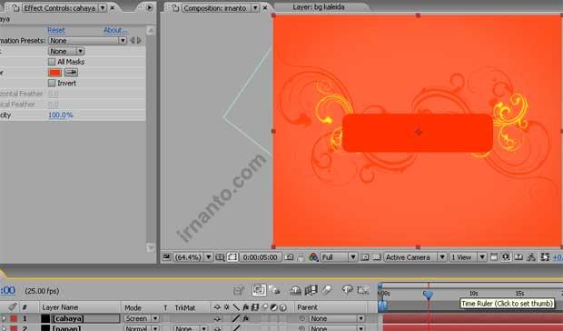 perubahan mode dan fill color layer di after effects