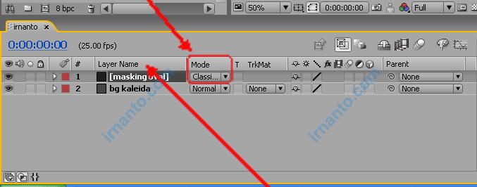 timeline mode - ganti mode menjadi clasic color burn
