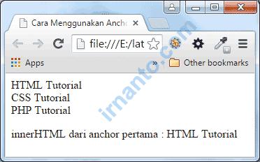 Preview Penggunaan Javascript Anchors