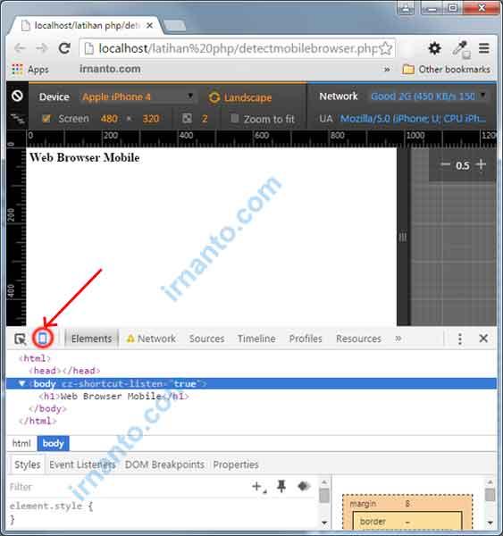 Mengecek Script Deteksi Mobile Browser Menggunakan Inspect Element