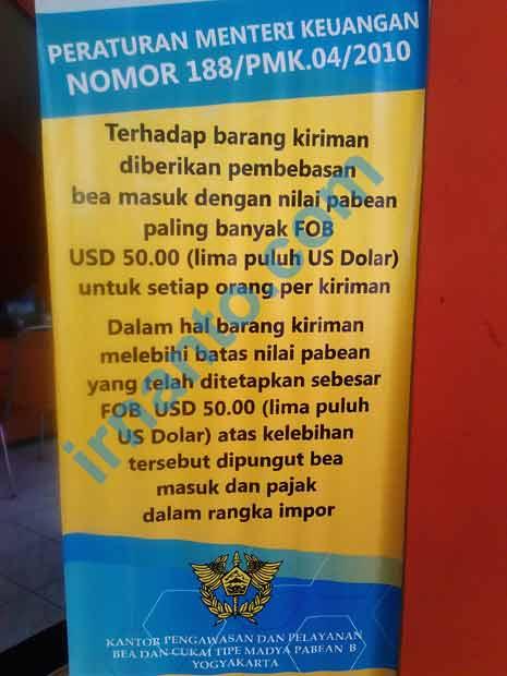 Peraturan Menteri Keuangan No 188 Mengenai Barang Kiriman