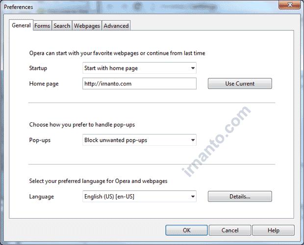 Tampilan Halaman Preferences Browser Opera