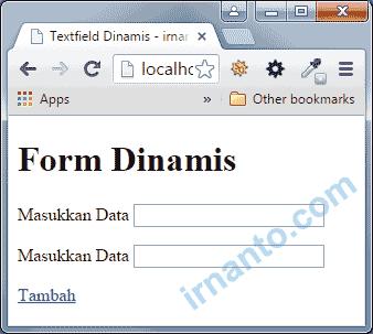 Textfield Dinamis Akan Bertambah Setelah User meng-klik Tambah