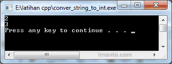 Hasil convert string menjadi integer di cpp