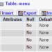 Struktur Tabel Menu